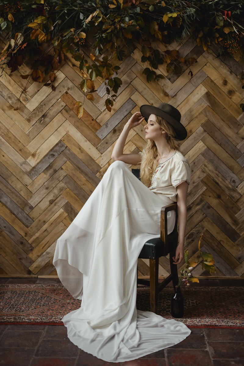 cool vintage wedding dress pioneer fashion shoot - bohemian bridal ireland