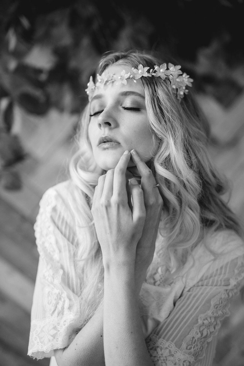 bohemian vintage bridal ireland - b and w fashion shoot editorial - The Lous