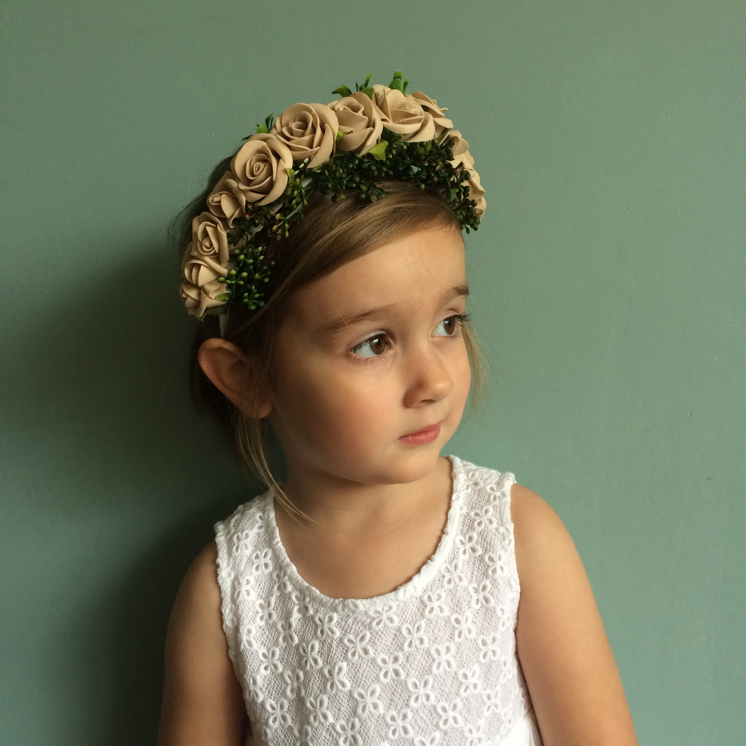 nude natural muted flower crown, bohemian style weddings ireland