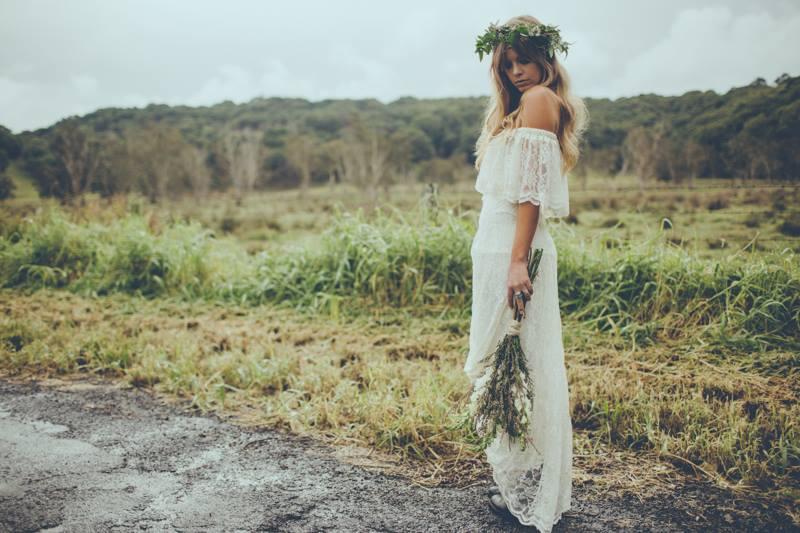 off the shoulder boho wedding dress -IRELAND