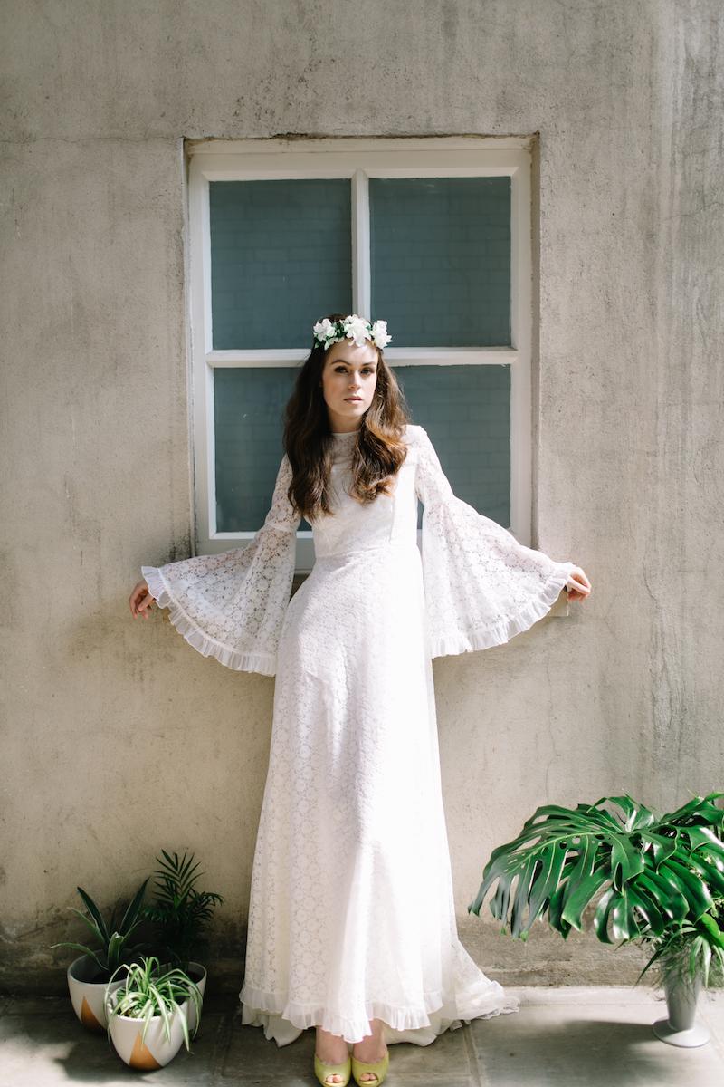 long sleeve 1970s bohemian wedding dress