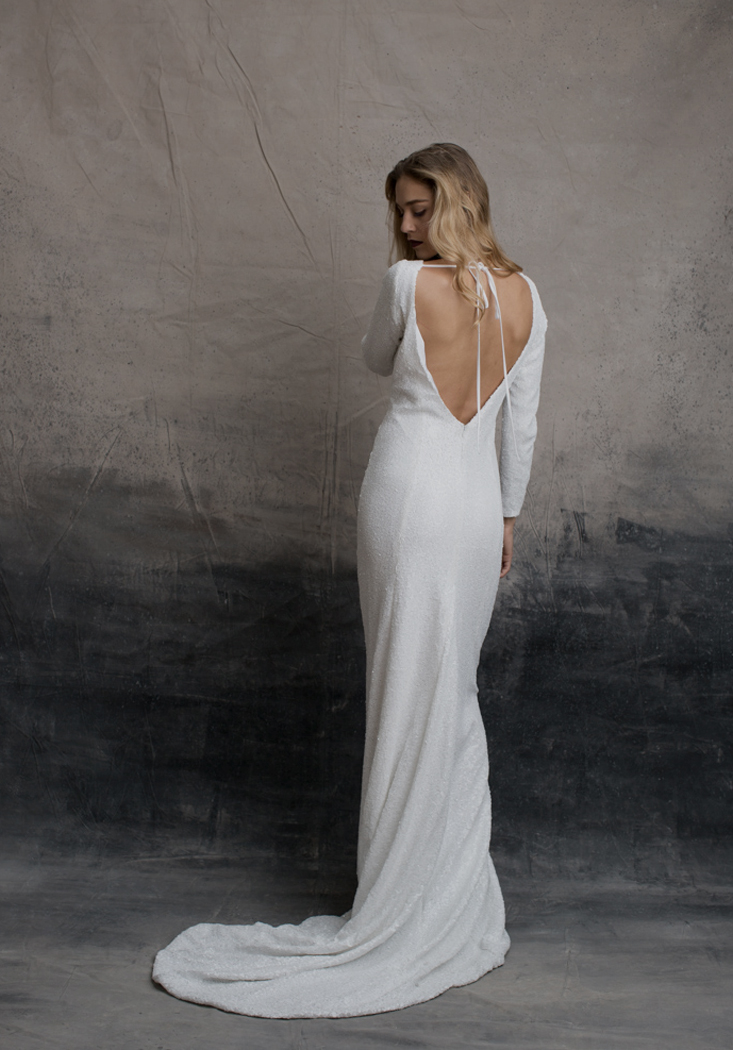 white sequin SMITH gown by And for Love - modern bohemian bridal