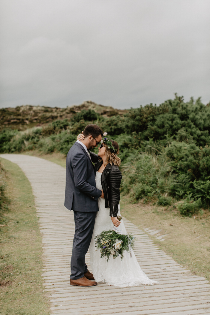 cool bride in a leather jacket - daughters of simone