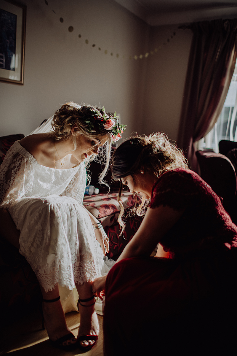 #A12BRID E Rachael getting ready in her  Daughters of Simone  dress. (Image -  Calvin Craig )