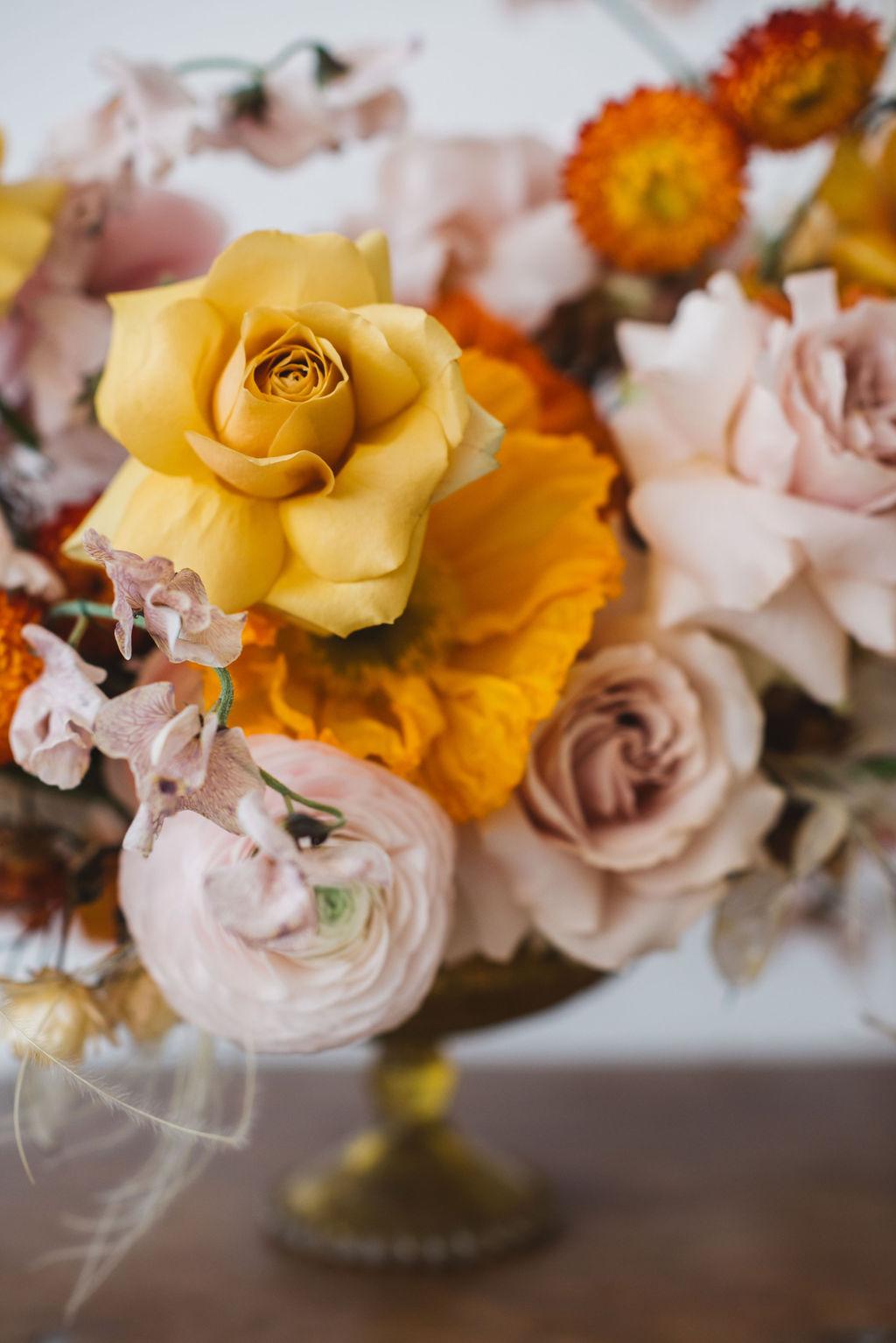 modern wedding florals -orange and yellow colour palette