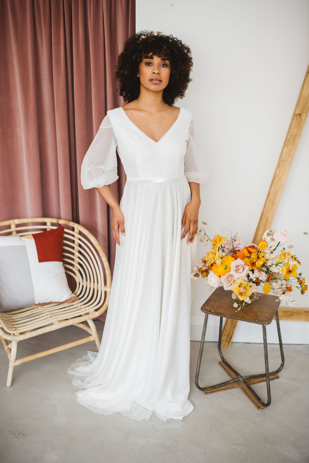 polka dot soft tulle wedding dress with puff sleeves