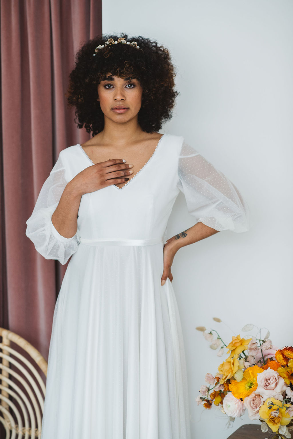 boho bride - polka dot wedding dress with sleeves