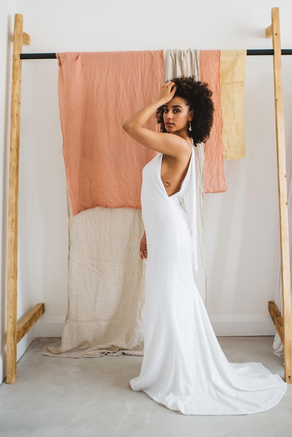 brooklyn 2.0 fringed modern wedding dress at ARCHIVE 12