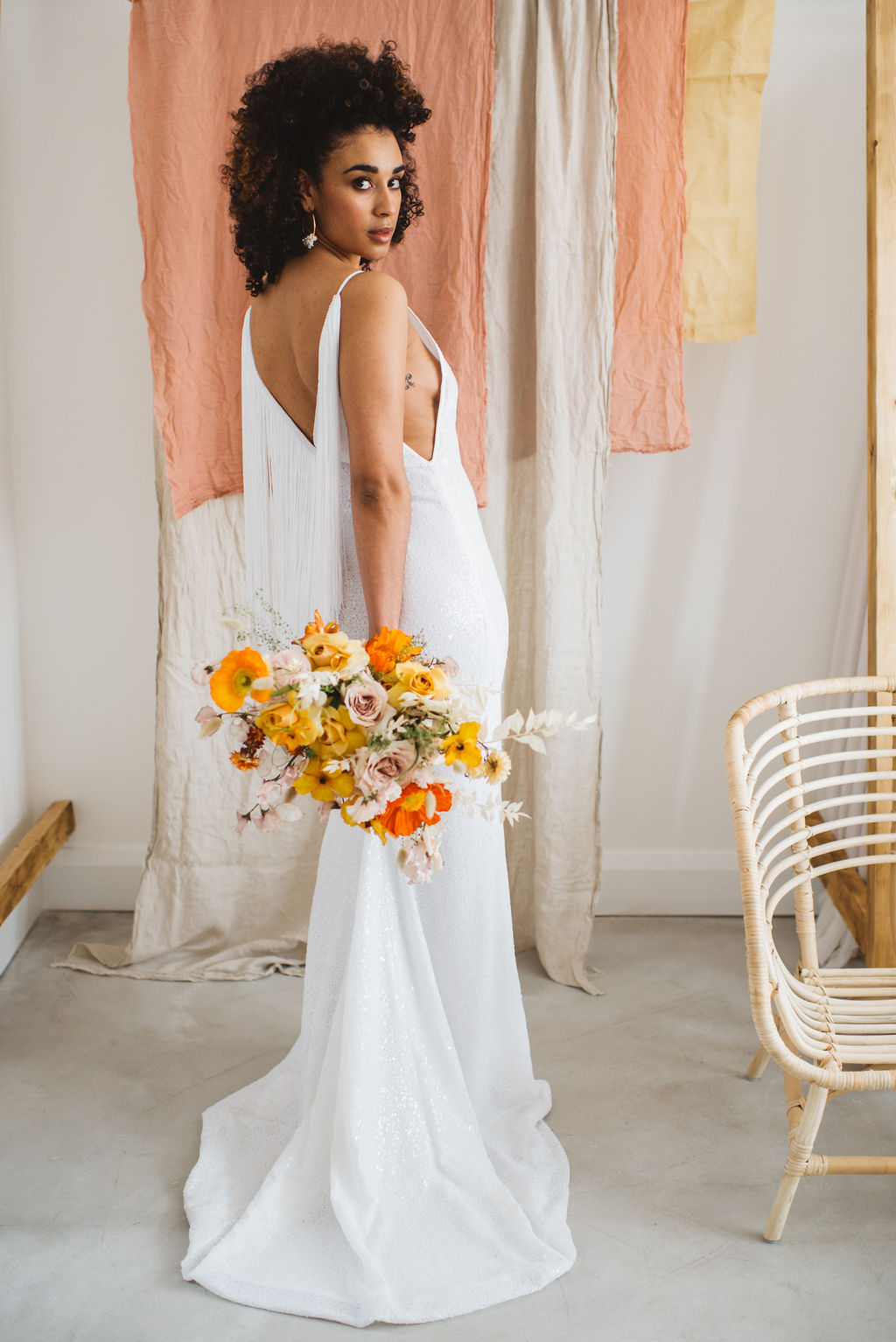 modern sequin wedding dress with fringing by AND FOR LOVE