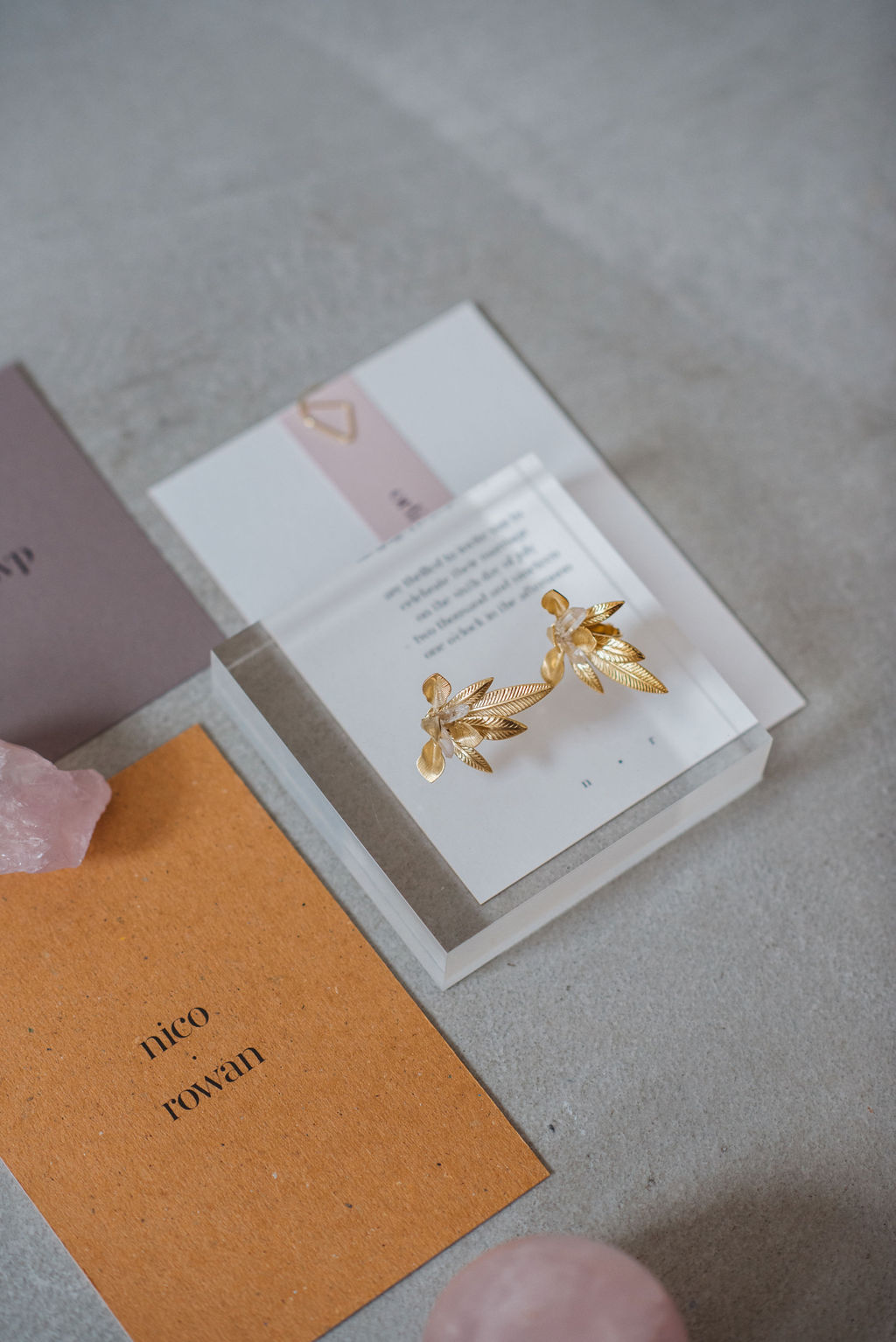 a.b.ellie gold ivy stud ear-rings