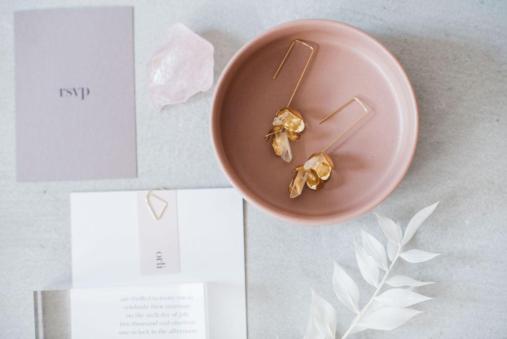 A.B.ELLIE bardot stem drop gold and quartz earrings
