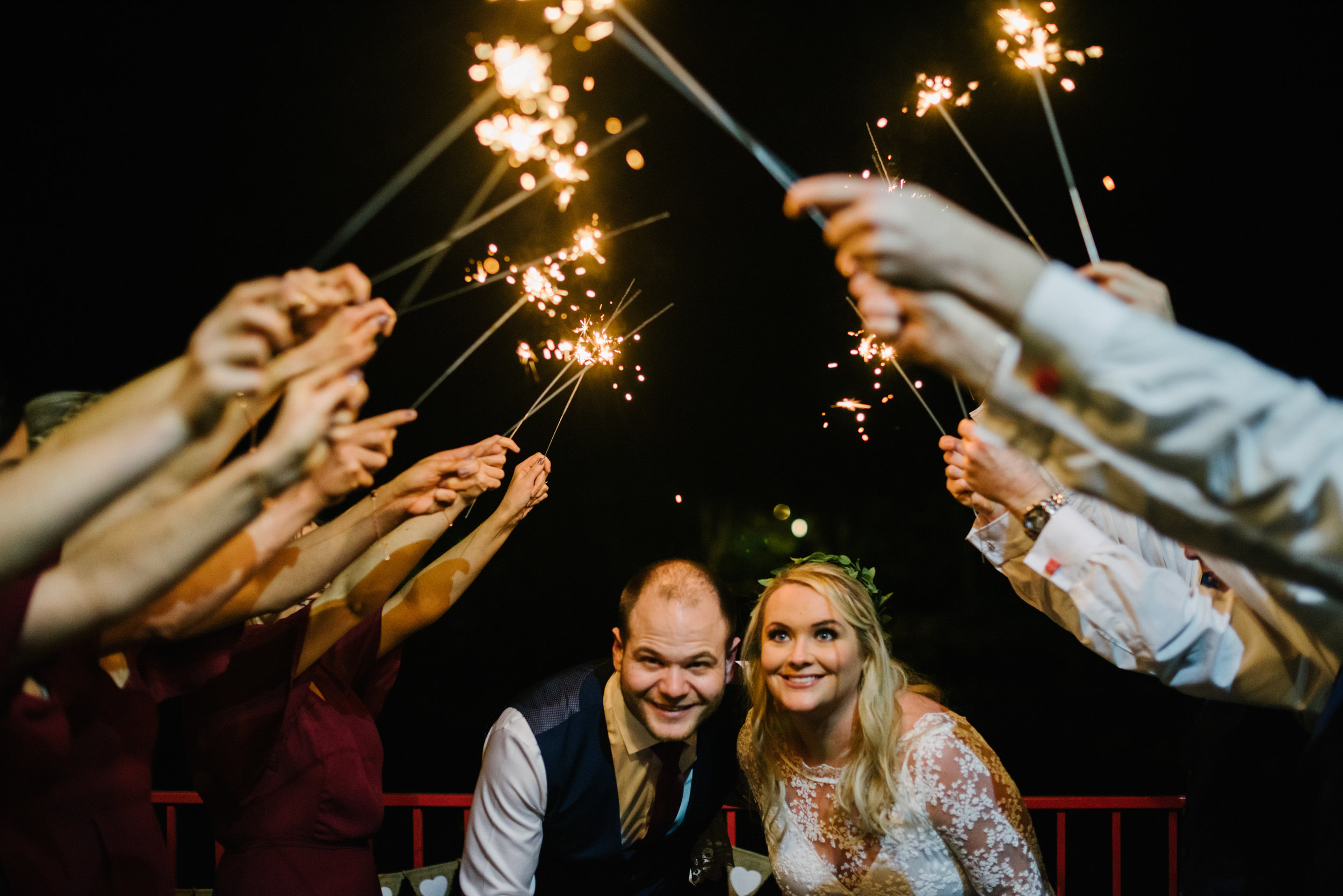 sparkler shot at irish wedding