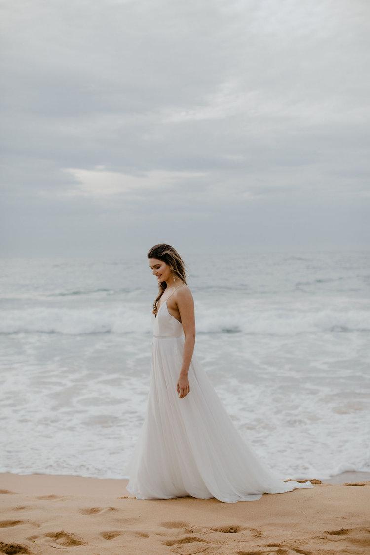 floaty beach wedding dress by Jackson & Grace