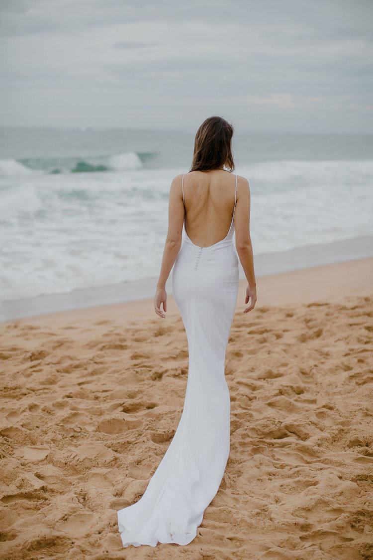 plain crepe destination wedding dress