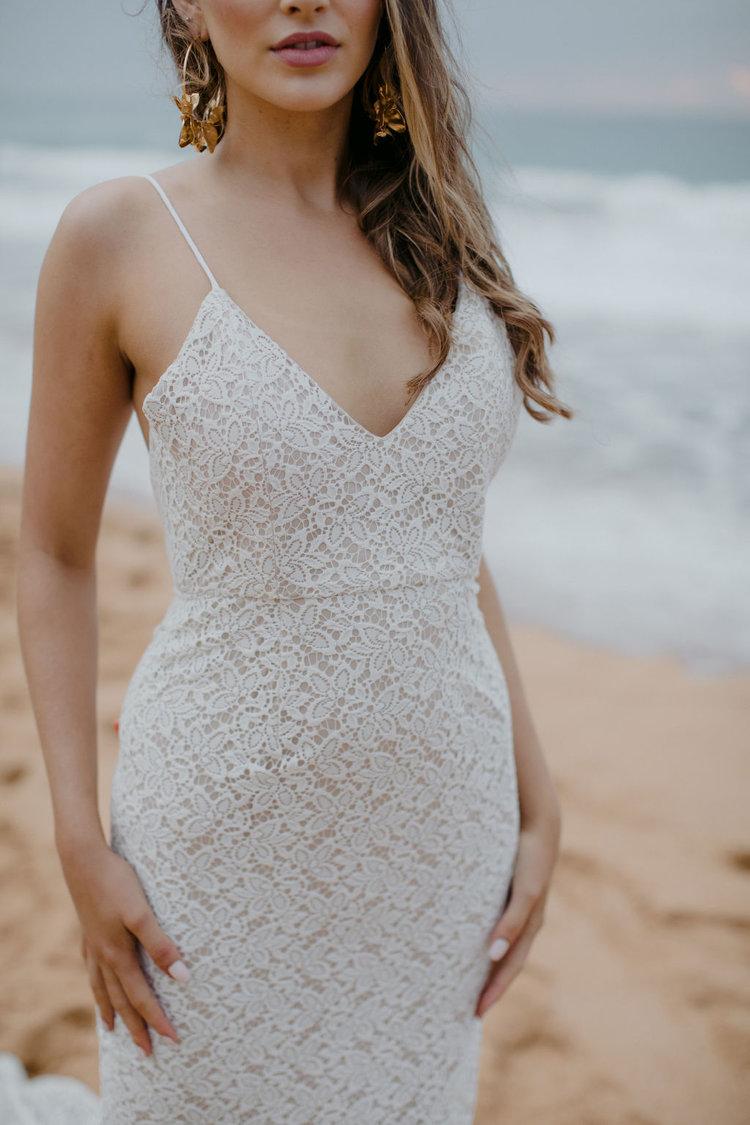 simple lace wedding dress for a destination wedding