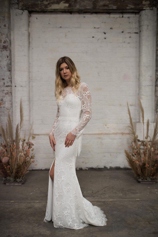 long sleeve boho lace wedding dress with split