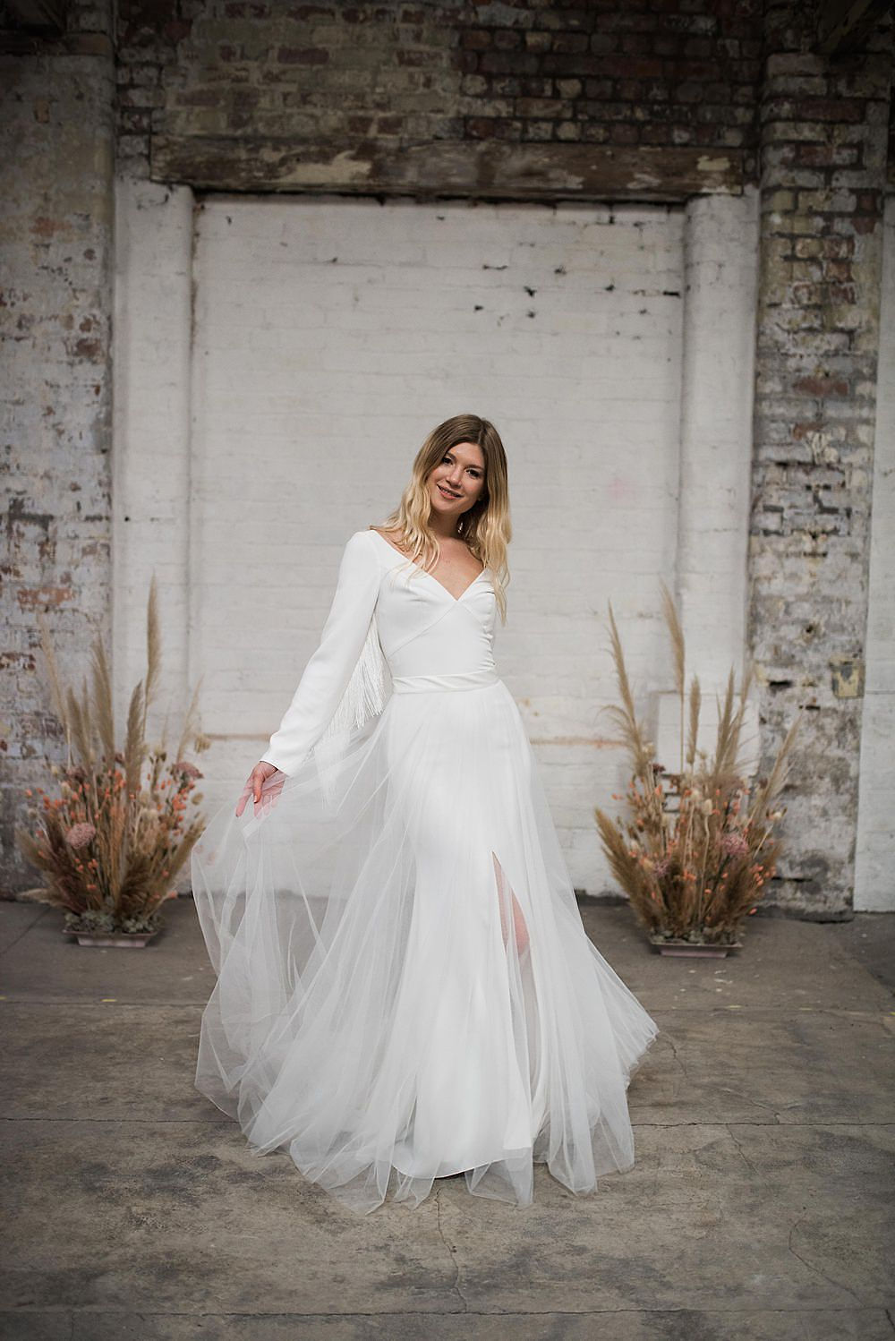 white fringed wedding dress with removable tulle skirt
