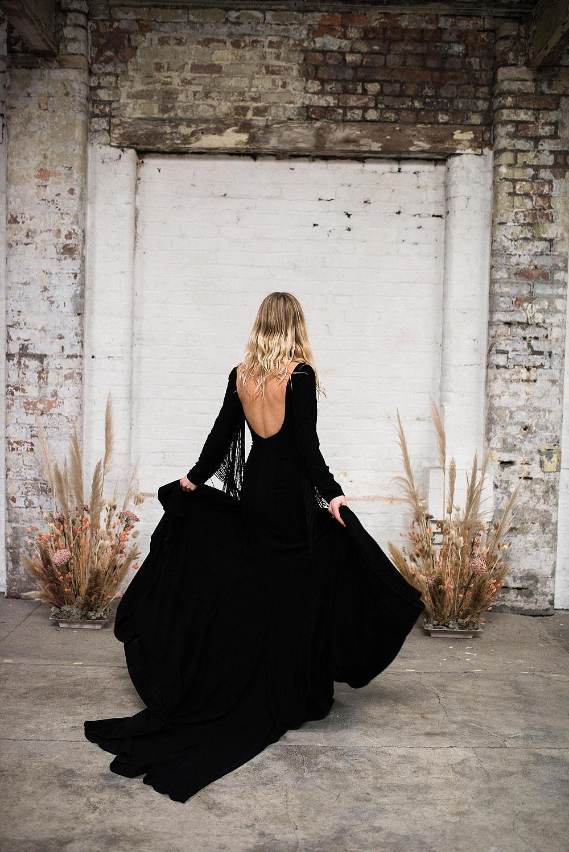 black long sleeve wedding dress with fringing