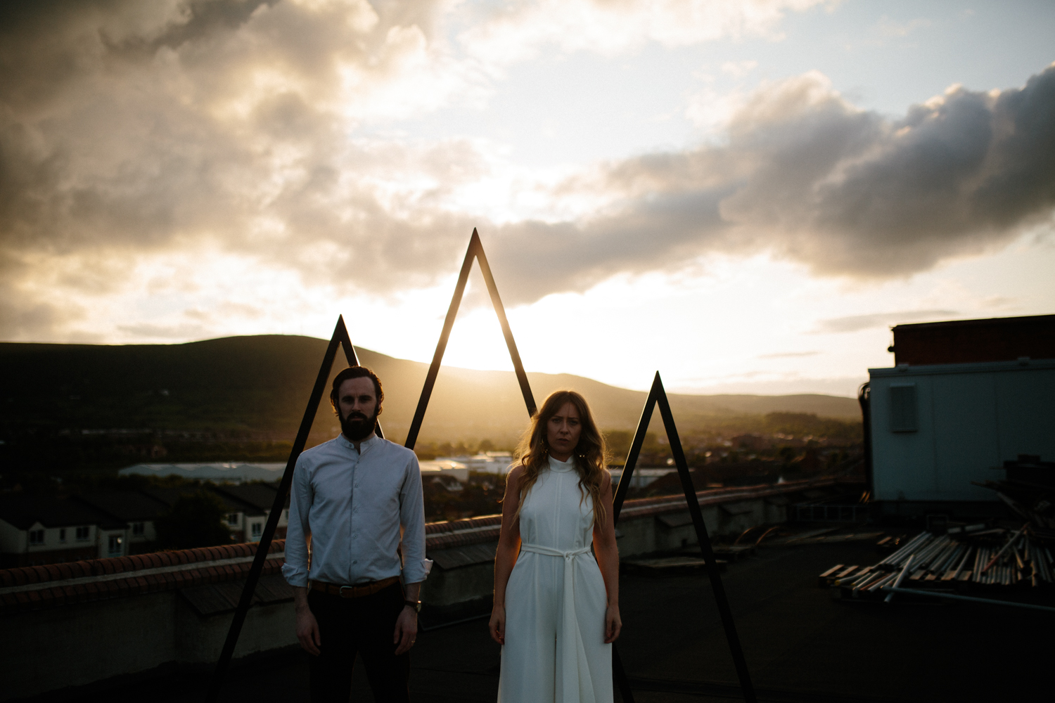 sunset couples shoot on Belfast city rooftop