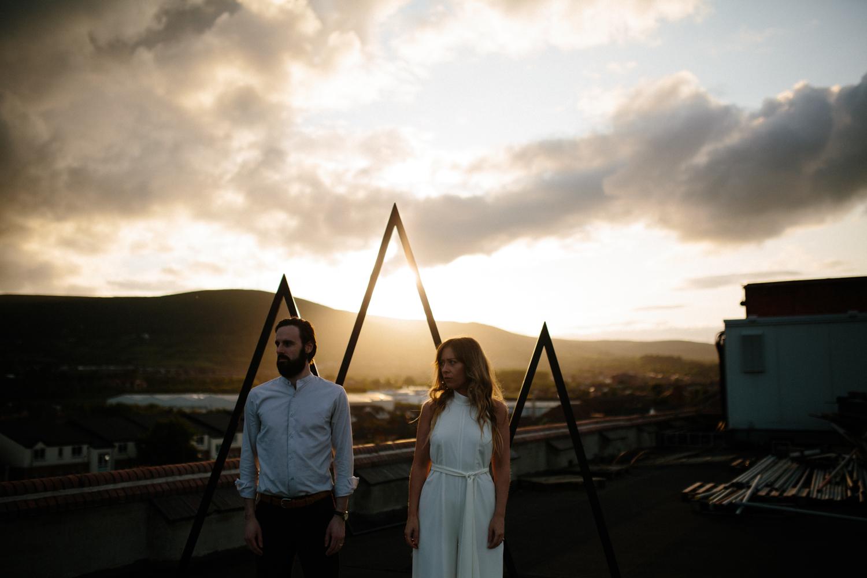 sunset couples rooftop shoot in Belfast