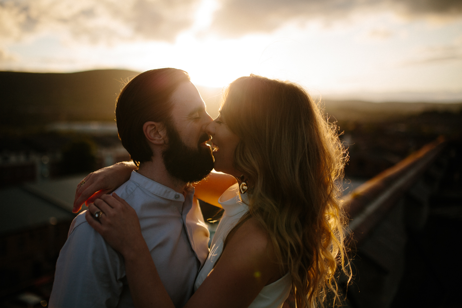 sunset rooftop couples shoot