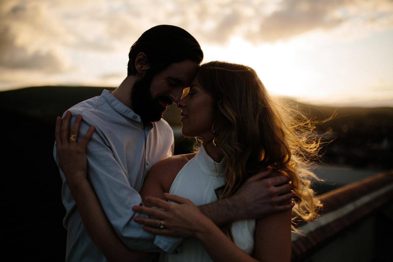 golden hour couples rooftop shoot