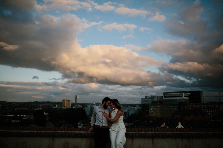 sunset city engagement shoot