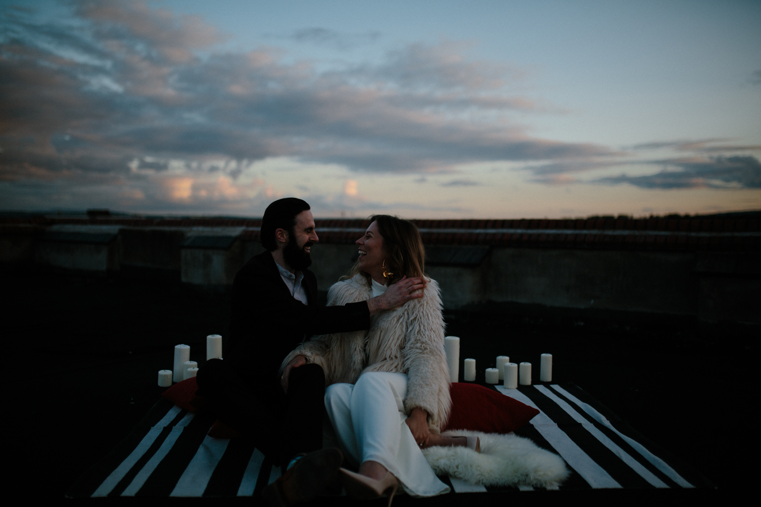 couples urban city rooftop shoot