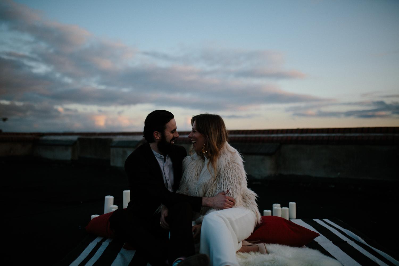 couples bridal portrait rooftop city wedding