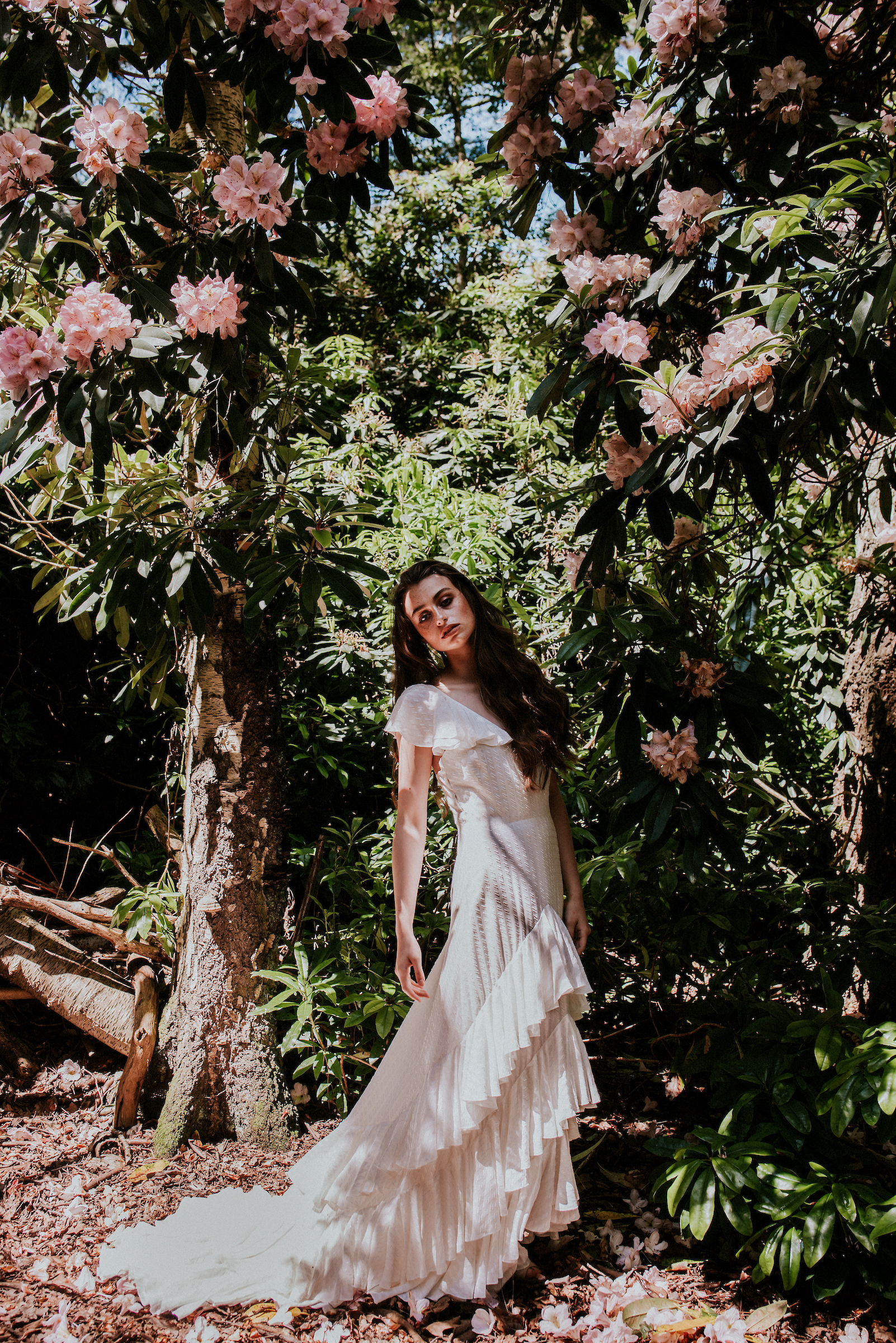 layered ruffle wedding dress by eco friendly bridal designers Rolling in Roses