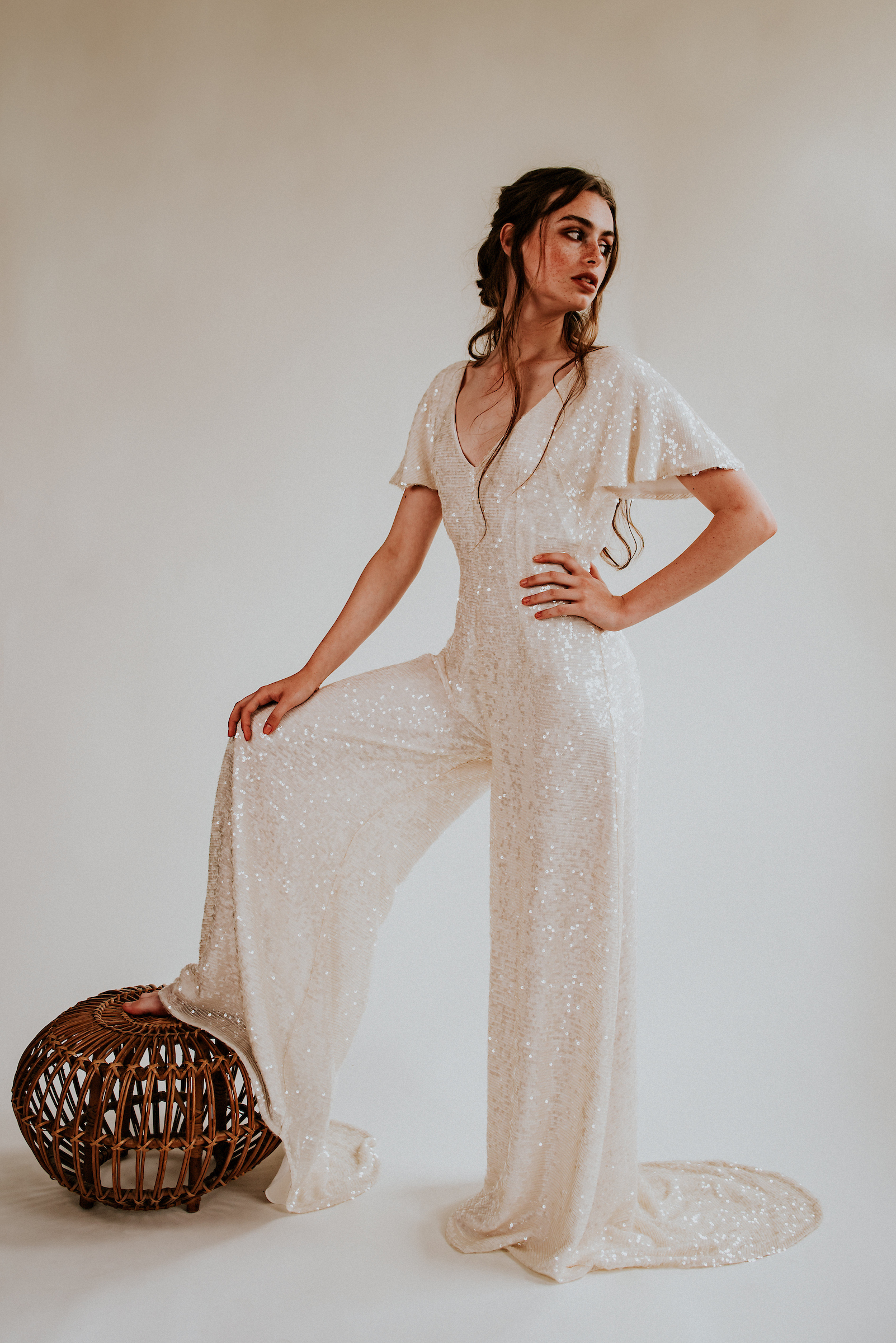 sequin bridal jumpsuit by boho bridal label rolling in roses