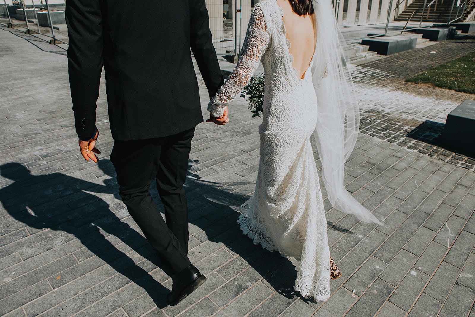 long sleeve backless crochet lace wedding dress