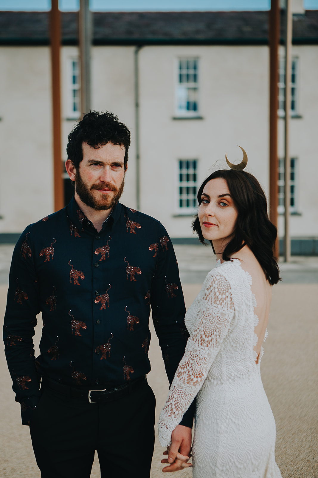 modern bride wearing LOLA by Daughters of Simone