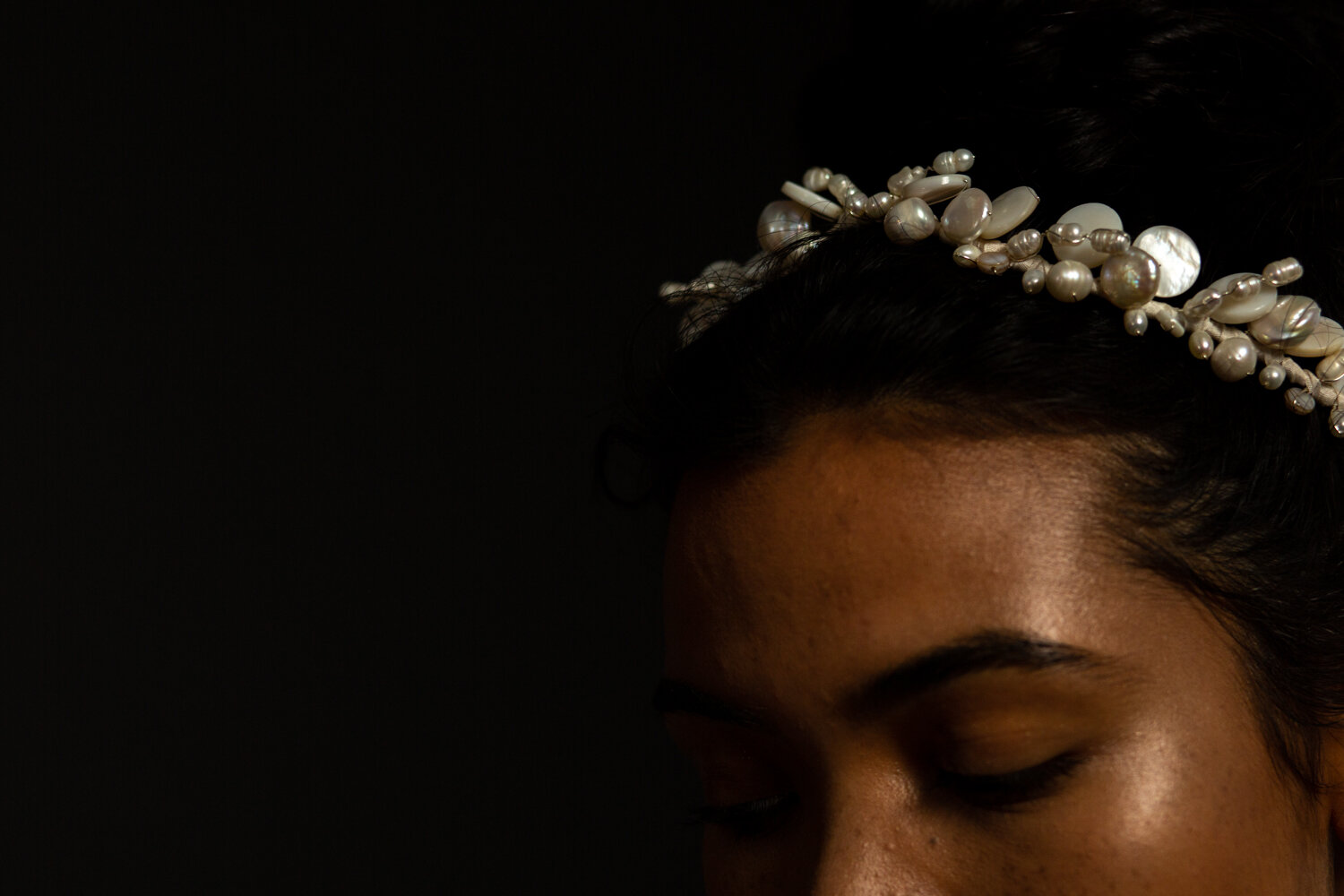mother of pearl wedding headpiece by Blue Meadow bridal