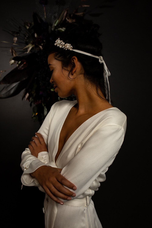 modern cool bridal editorial with BON BRIDE & BLUE MEADOW BRIDAL ACCESSORIES