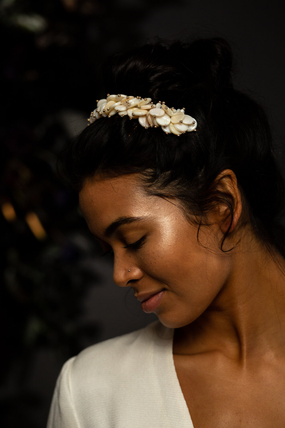 Mother of pearl modern bridal accessories by Blue Meadow Bridal