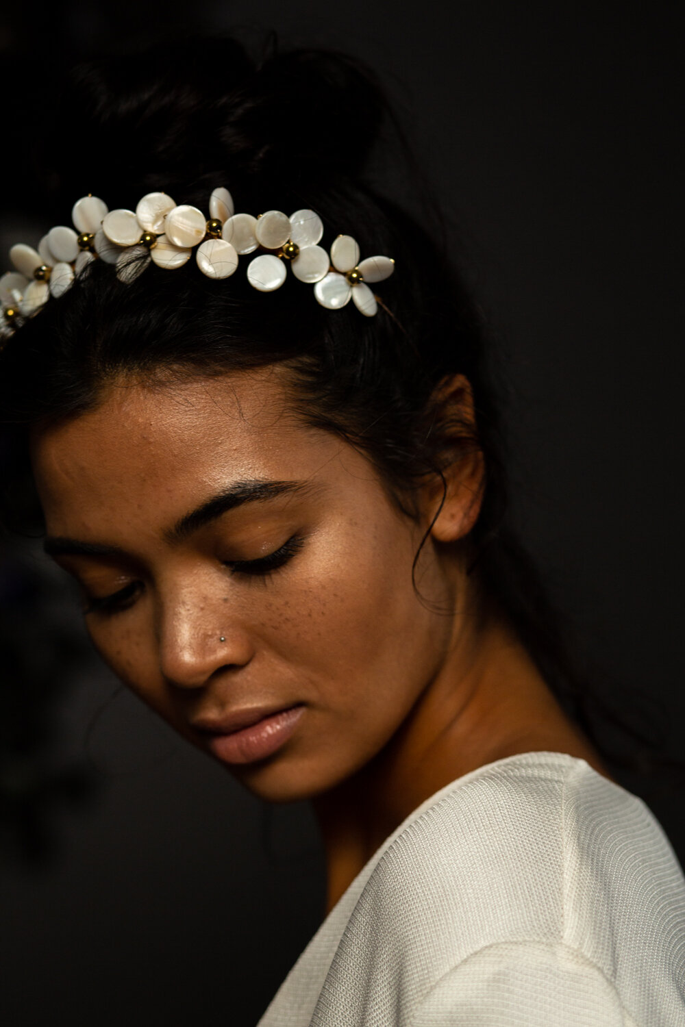 cool pearl wedding headpiece from the Blue Meadow Bridal 2020 collection