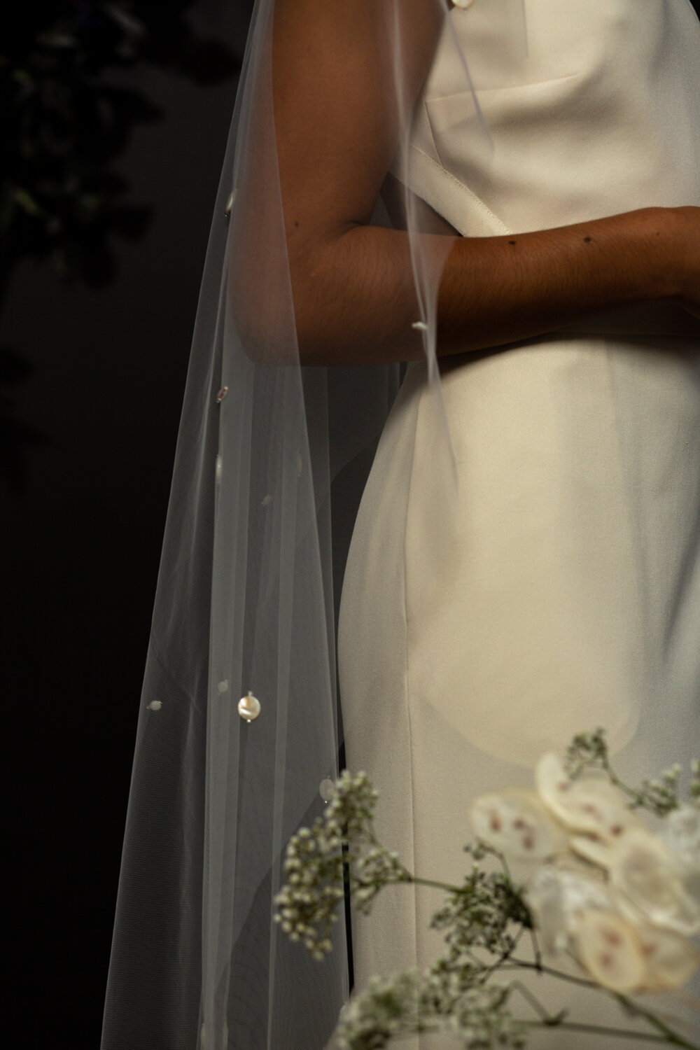 mother pf pearl beaded veil by Blue Meadow Bridal