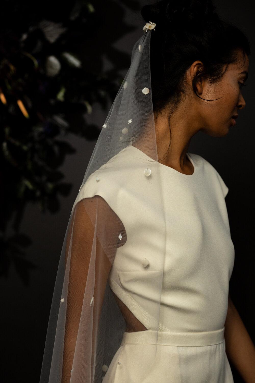 modern single tier mother of pearl wedding veil by Blue Meadow Bridal