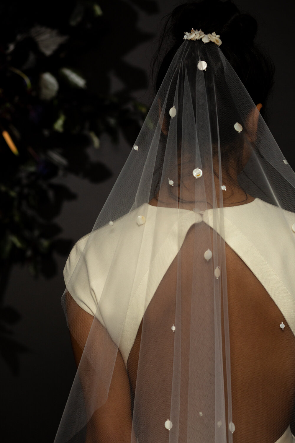 cool mother of pearl  beaded wedding veil by Blue Meadow bridal