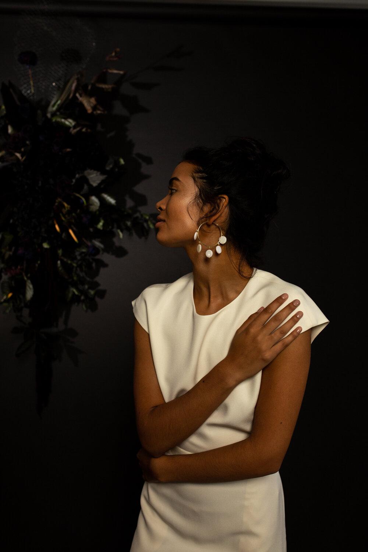 mother of pearl gold hoop bridal earrings