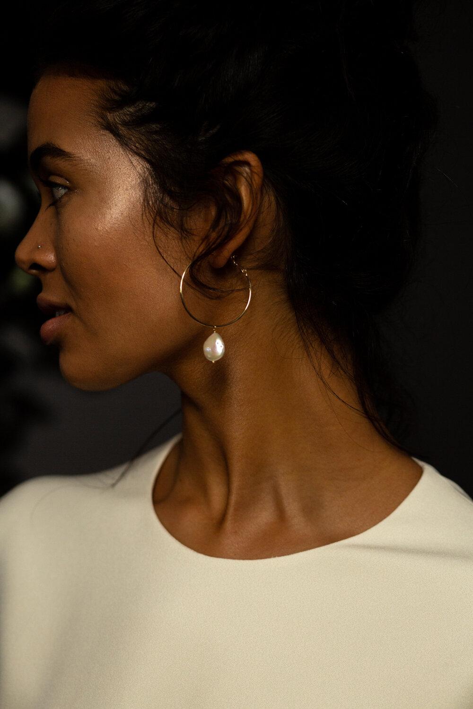 fresh water pearl hoop bridal ear-ring