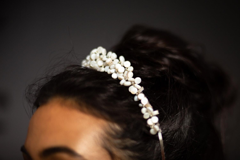 pearl beaded wedding crown by Blue Meadow Bridal