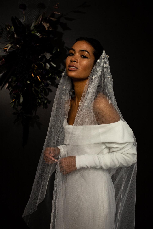 modern bridal veil with silk flowers by Blue Meadow Bridal