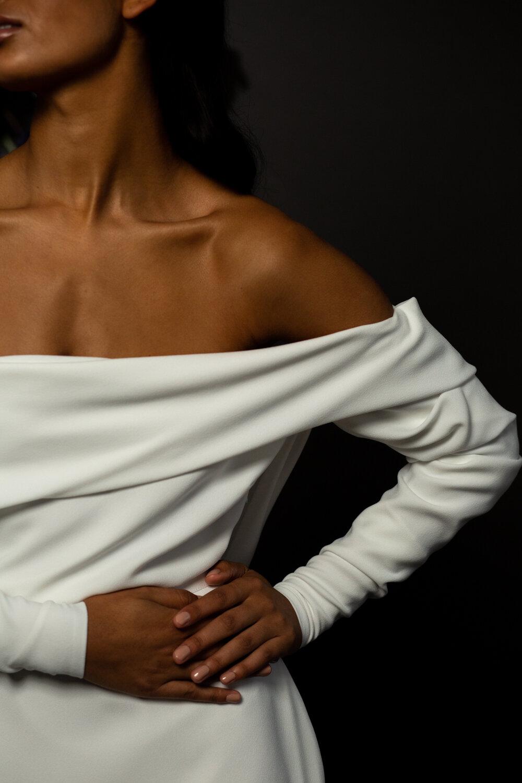 Off the shoulder plain modern wedding dress by BON BRIDE BB:05