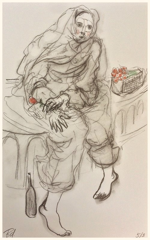 "Study ""The Beggar's Rose"""