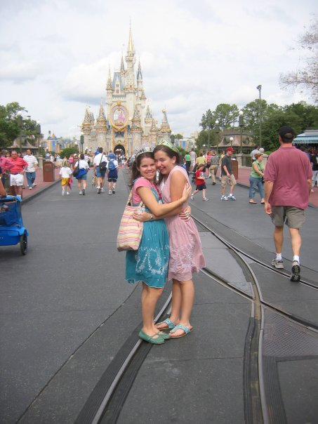 My friend Meagan and I in Disney in 2005. This would be the trip we pretended we were twins (which we kinda did a lot) and told everyone it was our birthday. Both false, clearly.