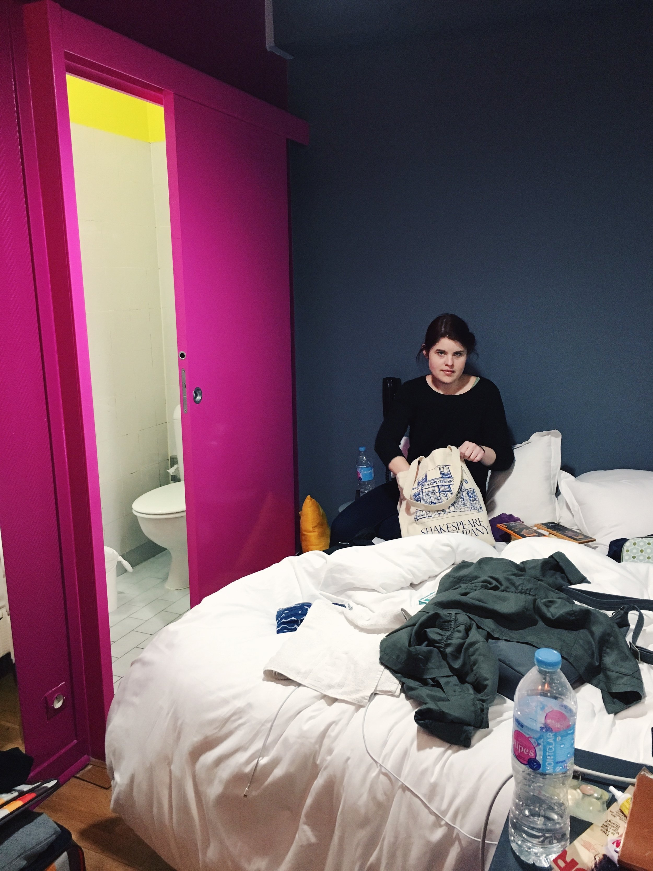 Our tiny private room at the Arty Paris Hostel. I promise I just caught Kayla off guard, she doesn't normally look that angry.