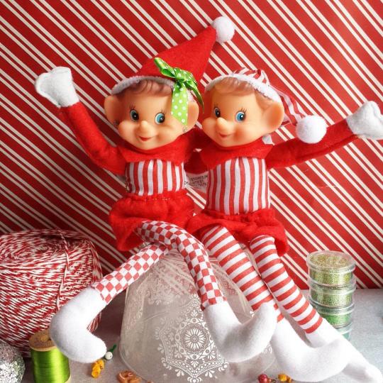 girl and boy elf on the shelf