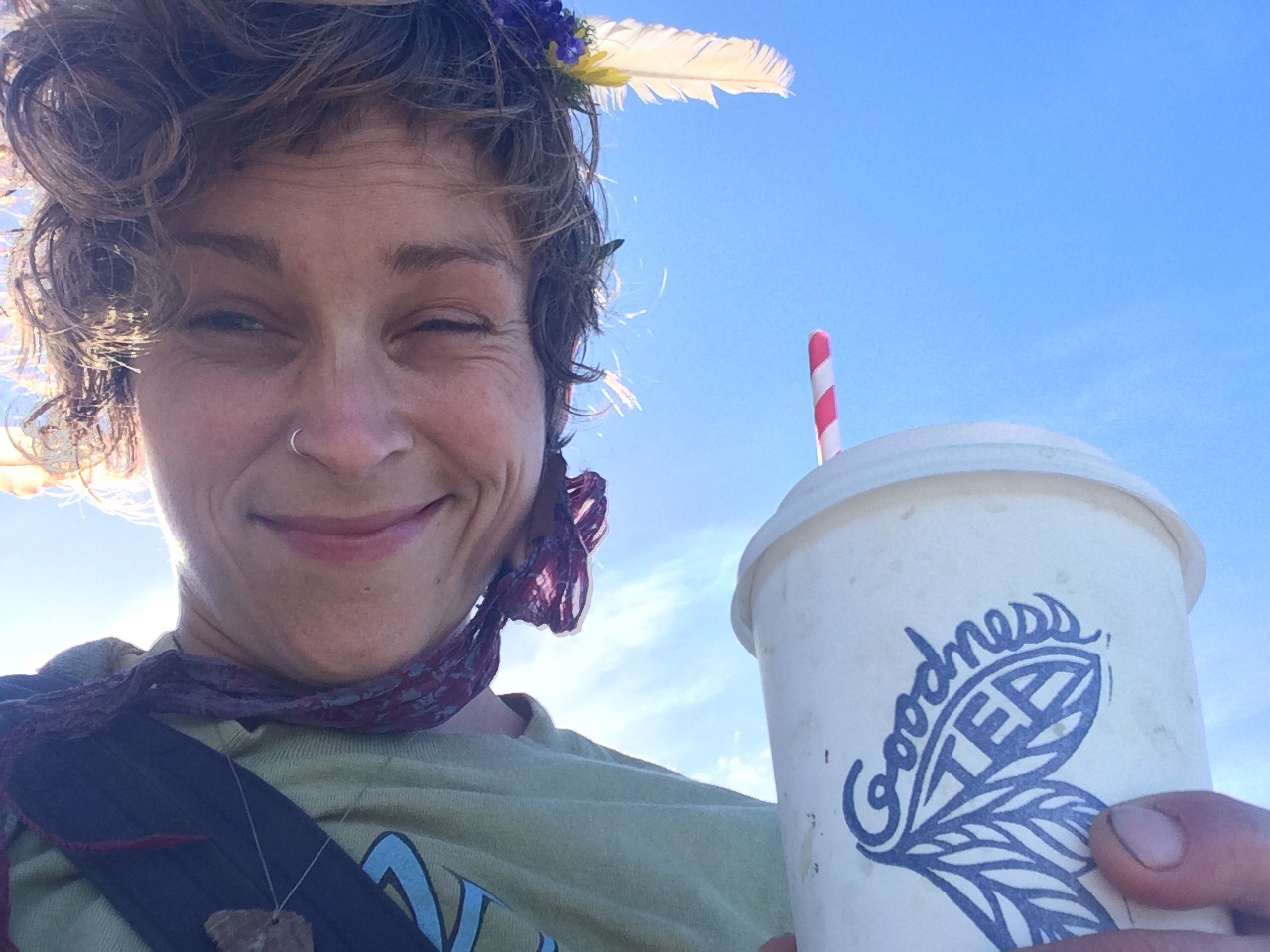 At the beach with Pearl and and a nice hot lemonade. Good stuff in there.